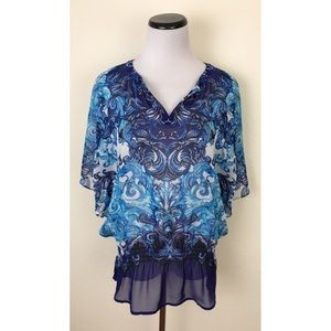 Chicos Sheer Blue V Neck Blouse Size 0 (Small)